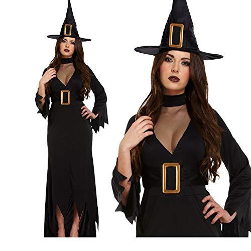 Womens Hexen Lange Schwarze Plus Größe Kostüm Fancy Kleid Party ()