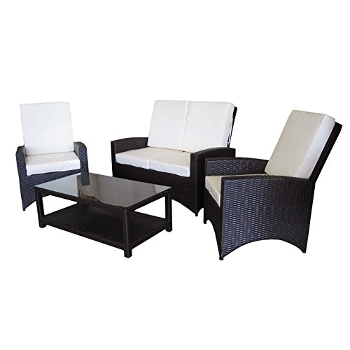 Rattan Gartenmöbel Loungegruppe Gartenset Sitzgruppe mit Tisch PU-Rattan mocca