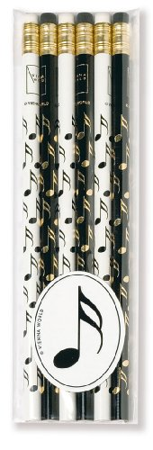Bleistifte, Musiknoten Sechzehntel-Noten Design, Schwarz / Weiß, 6 Stück