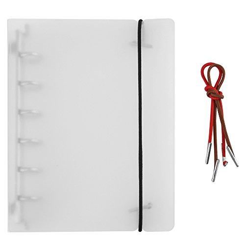 Dehnbare Ringbuchhülle mit 6 Ringen, für Lose-Blatt-Notizbücher, Sammel-, Fotoalben, Weiß, 3 Arten A7 (Mini 6-ring-binder)
