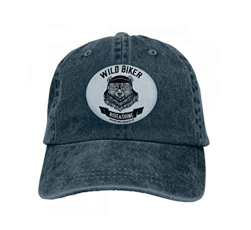 Unisex Women Cotton Adjustable Baseball Caps Low Profile Washed Dad Hats Vintage Images Grizzly Bear Design Motorcycle Bike Motorbike Navy