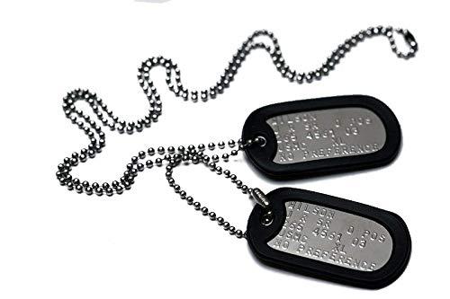 Graphotype Chapa Militar: Juego de 2 chapas de identificación tipo militar, con cadenas de bolas y silenciadores. (Leer la descripción para ver cómo personalizarlas)