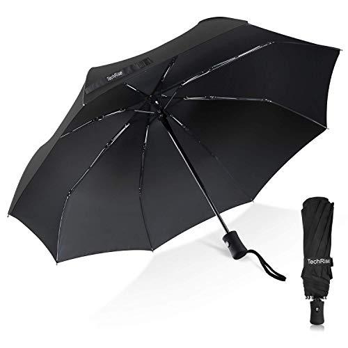 Parapluie Pliant Automatique, TechRise Parapluie Homme Parapluie de voyage résistant à la pluie de résistance compacte de haute qualité pour les hommes et les femmes poignée non glissa