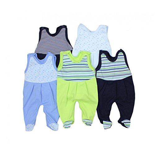 5er Pack Baby Strampler mit Aufdruck Spruch Mädchen Strampelanzug Jungen Babystrampler mit Fuß 100% Baumwolle , Farbe: Junge 2, Größe: 56