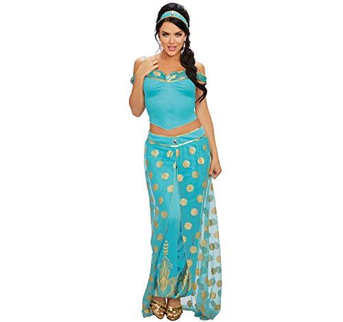 Dreamgirl Damen Kostüm Orient Arabische Prinzessin Jasmin 1001 Nacht Bauchtänzerin S, M, L (Arabische Nacht Kostüm Für Erwachsene)