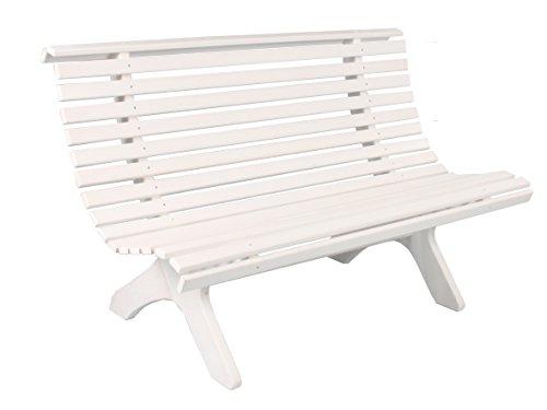 Trendy-Home24 stabile ergonomische große Sitzbank Parkbank Holzbank Gartenbank 140 cm breit (Weiß)