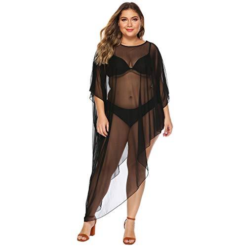 BURFLY Mode Damen Vertuschen, Sommer Frauen Strand Bademode Vertuschen Sexy Durchsichtig Schiere Mesh T-Shirt Kleid Große lose Unregelmäßige Perspektiven Bikini Vertuschen -