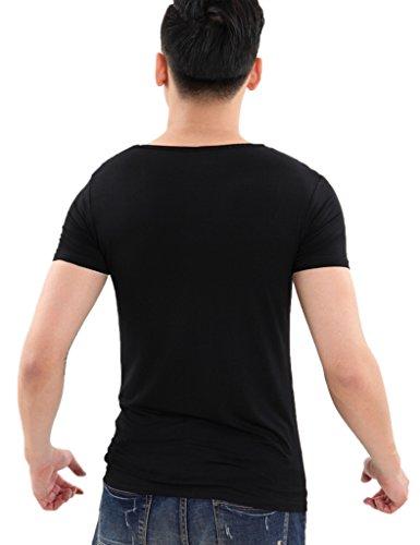 Legou Herren Modal V-Neck Kurzarm T-shirt Tee Weiß
