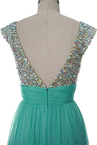 MACLoth Women Cap Sleeve V Neck Crystal Chiffon Short Prom Dress Evening Gown Braun