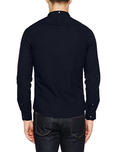 Nowadays Herren Freizeithemd Double Collar Shirt Schwarz (Blue Black 626)