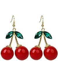 Boolavard Lovely Red Cherry Fruit Ear Stud Crystal Rhinestone Fashion Charm Earrings