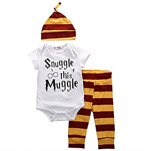 Infant Baby Boy Girl Snuggle this Muggle Rompers Bodysuits+Striped Pants