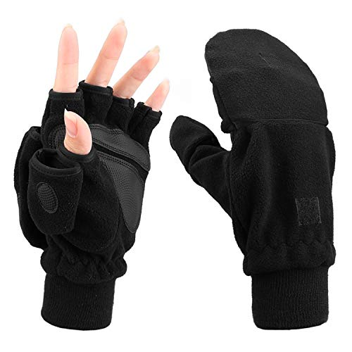 MAGARROW Winter Herren Damen handschuh Warme Halbfinger handschuhe aus Fleece ohne Finger (Schwarz, L)