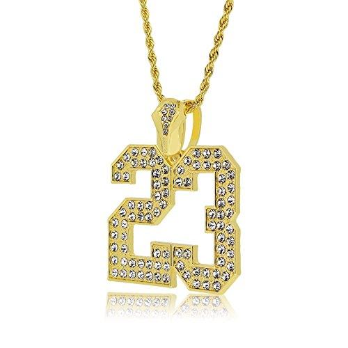 The Bling King Halskette mit Anhänger Nummer 23 vergoldet groß Hip-Hop-Kette