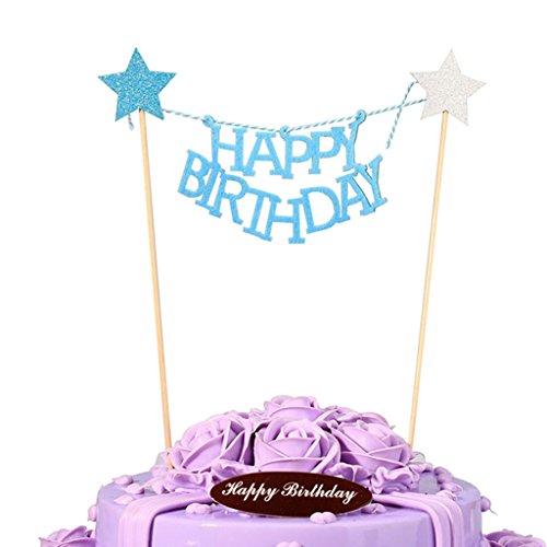 LQZ Happy Birthday Tortendeko Wimpelkette Kuchen Topper Cake Dekoration Kuchengirlande (Blau)