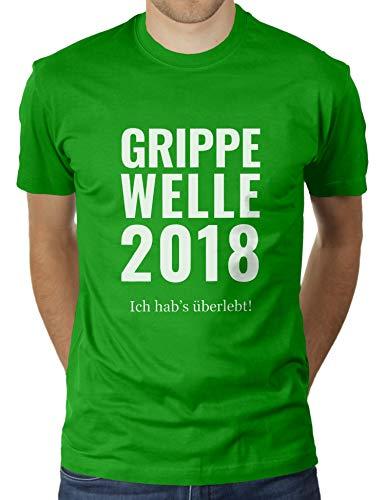 Grippe Welle 2018 - Ich Habe überlebt - Herren T-Shirt von KaterLikoli, Gr. 3XL, Apple Green -