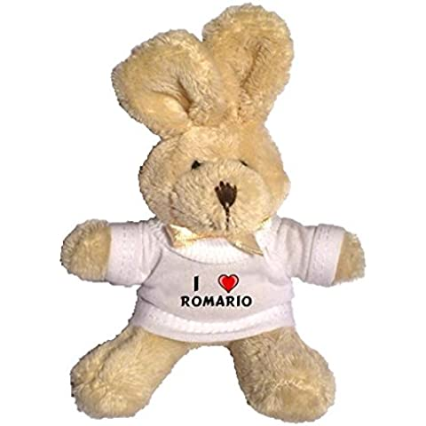 Conejito de peluche (llavero) con Amo Romario en la camiseta (nombre de pila/apellido/apodo)