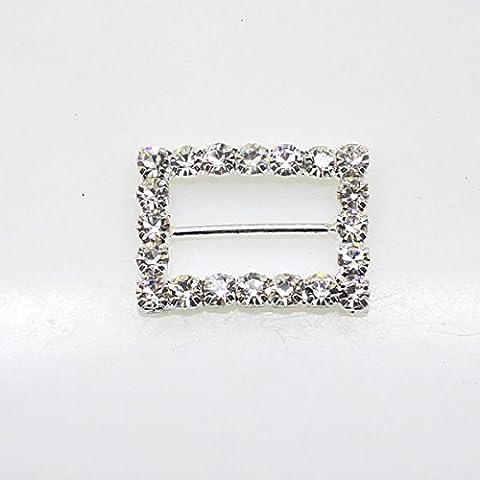 20pcs 22mm x 18mm Rectangle Shaped Rhinestone Buckle Slider for Wedding Invitation Letter - Diamante Del Nastro Scorrevole