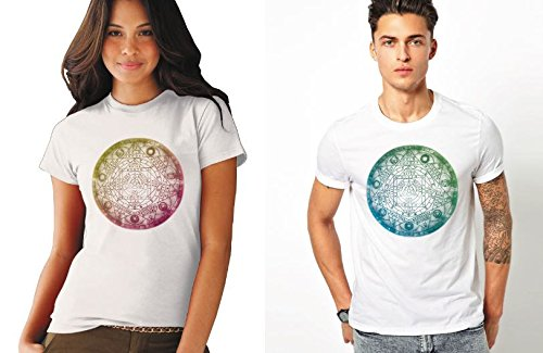 Nirvana Abstract White Cotton Couple Combo Tshirts (Pack of 2)