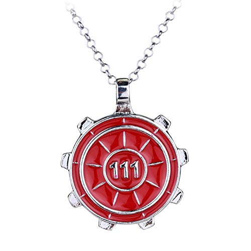 Hzzzzz Game Fallout Vault 111 Logo Necklace Door Coaster Wheel Gear Pendant - Vault 111 Kostüm
