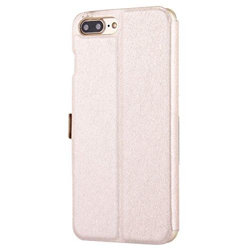 Hülle für iPhone 7 plus , Schutzhülle Für iPhone 7 Plus Solid Color Horizontale Flip Leder Tasche mit Call Display ID & Halter & Magnetic Buckle ,hülle für iPhone 7 plus , case for iphone 7 plus ( Col Gold