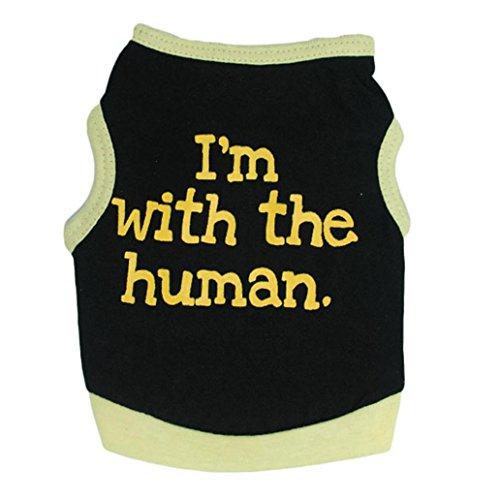sundatebe Pet Hund Kleidung Fashion Buchstabe Print T-Shirt weicher Baumwolle Weste Katze Puppy Bulldog (Kaltes Wetter Weste)