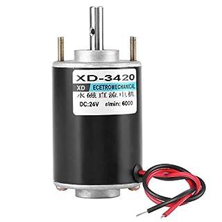 Gleichstrom-Elektromotor, Asixx XD-3420 12 / 24V 30W Permanentmagnet Gleichstrommotor Hochgeschwindigkeits-Elektromotor CW/CCW(24V 6000RPM)