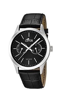Lotus 15956/3 - Reloj de cuarzo para hombre, correa de cuero color negro de Lotus