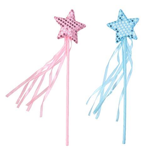 Toyvian Fee Prinzessin Sterne Zauberstäbe Sternförmige Stäbe Kinder Flashing Sticks Spielzeug Jubeln Requisiten 2 Stücke (Rosa + Blau)
