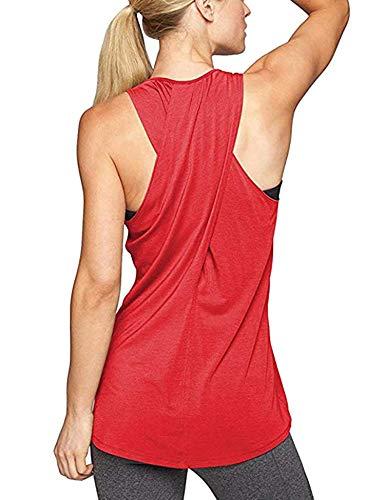 Aibrou Damen Kreuz Rücken Yoga Sport T-Shirt Tank Top Racerback Trainingskleidung Rot XL