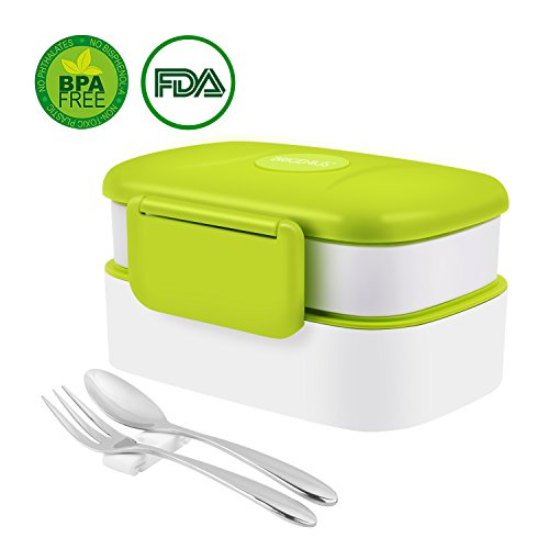 BRIGENIUS Bento Box 2-Schichten Brotdose für Kinder Junge Mädchen Erwachsene Auslaufsicher Lunchbox BPA Frei/FDA Zertifizierung Brotzeitbox Lunchboxen für Büro Kindergarten Schule