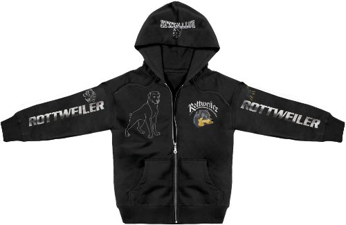 Rottweiler Pullover (Kapuzen-Jacke mit Stick und Druck - ROTTWEILER - Sweatshirt Kapuzenpulli)