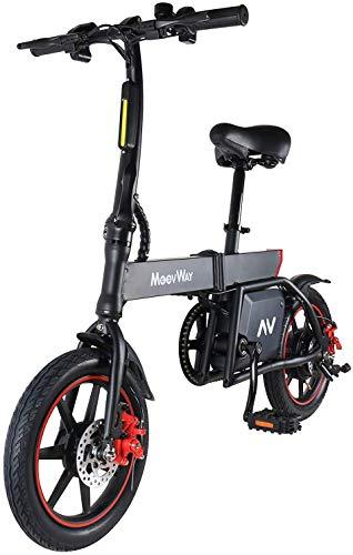 MoovWay Vélo Électrique Pliant, Jusqu'à 30km/h, Vitesse Réglable 14' Noir Bike, 25km la Longue Portée, 36V/6.0Ah Batterie Lithium Rechargeable, Adulte Unisexe