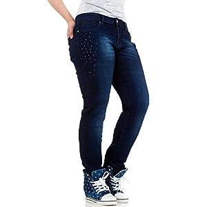 Damen Jeans, USED LOOK ÜBERGRÖßEN STRASS SKINNY, KL-J-A185, Blau, 42