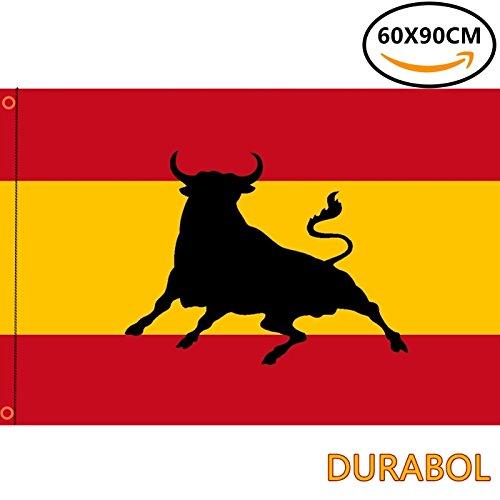 DURABOL Bandera de Comunidades autónomas de España 60*90 cm SATIN 2 anillas metálicas fijadas en el dobladillo (TORO)