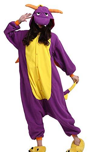 DELEY Unisex Erwachsene Cartoon Purple Dragon Kapuzen Strampelanzug Cosplay Anime Pyjamas Nachtwäsche XL