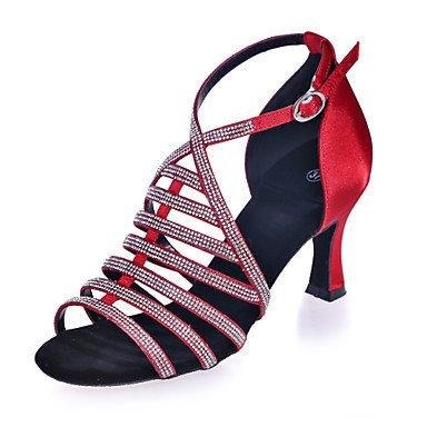 XIAMUO Nicht anpassbar - Die Frauen tanzen Schuhe Satin Satin Latin Sandalen entzündete Ferse Praxis/Professional/Innen-/PerformanceBlack/Braun/ Braun