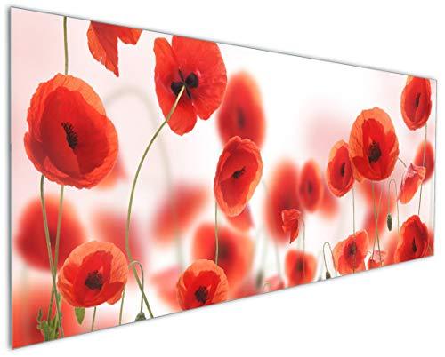 Wallario Küchenrückwand aus Glas, in Premium Qualität, Motiv: Leuchtende Mohnblumen - Rote Mohnblumenblüten   Spritzschutz   abwischbar   pflegeleicht