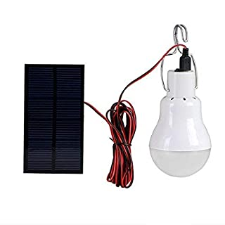 Amazingdeal365 LED Solar Bulb Portable Solar Powered Lightbulb Lamp Spotlight with 0.8w Solar Panel for Outdoor Hiking