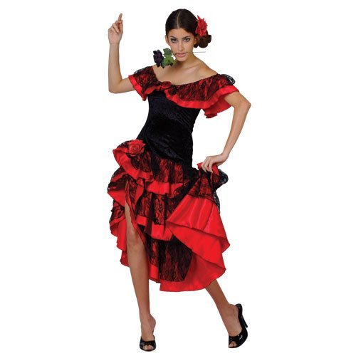 SPANISH SENORITA SALSA FANCY DRESS COSTUME All (Geeignet Bis Kostüm)