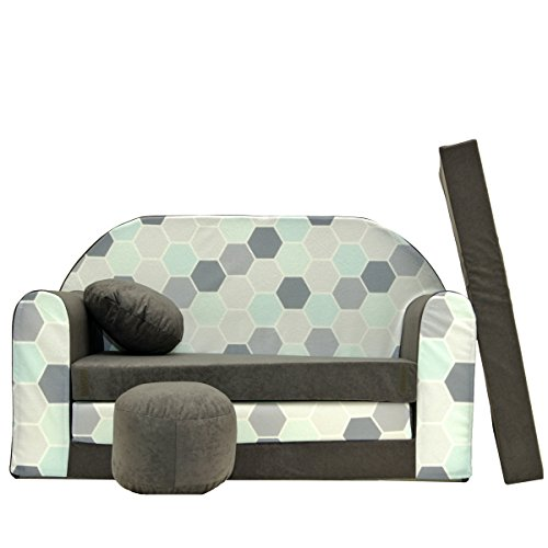 Couch Kindercouch Kindersofa Kinder Sofa Schlafsofa Kinderzimmer Bett gemütlich grau (A48)
