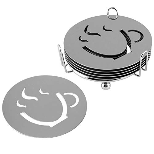 MyGift Espressotassen Design Edelstahl Untersetzer mit Halterung, 6 Stück -