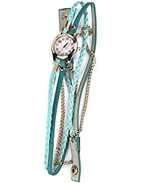 Ouneed® Uhren, Leder armband Geflochtenes Wickel Niet Armband Armbanduhr