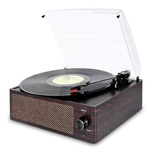 Vinyl Plattenspieler, Bluetooth tragbaren Vinyl Plattenspieler Schallplattenspieler mit 3-Gang 33/45/78 U / min und Eingebauter 2 Stereo Lautsprechern- natürliches Holz - Vinyl Plattenspieler Holz