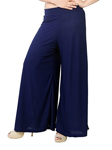 Tara Lifestyle stretchable Designer Plain Casual Wear Palazzo Pant For Women's - Free Size (Navy)