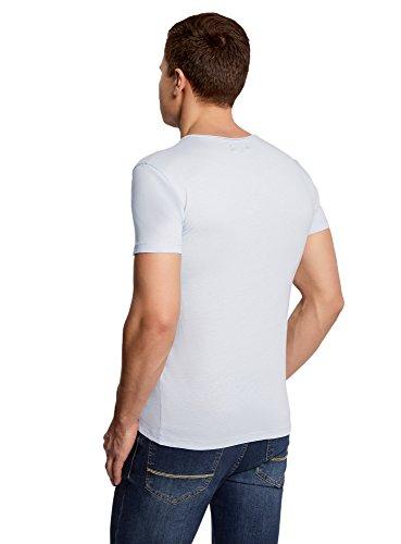 oodji Ultra Herren Gerades T-Shirt mit Rundem Ausschnitt Blau (7000N)