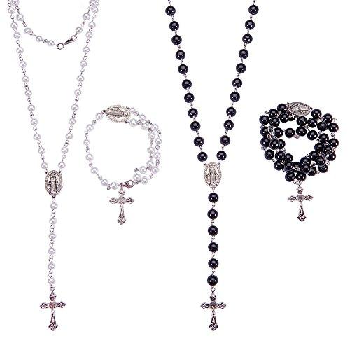 SUNNYCLUE Rosenkranz Machen Kit Perlen Bead Rosenkranz Halskette DIY Kit - 6mm & 8mm Handgefertigte Perlen Ketten, Kruzifix, Rosenkranz Herzstück-Machen 2 Rosenkränze