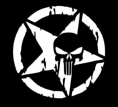 Makarios LLC MKR752 Star Punisher Marvel Cars, Trucks, Vans, Wände, Laptop, MKR, 5,5 x 4,75 Zoll, Weiß (Einfach Punisher Kostüm)