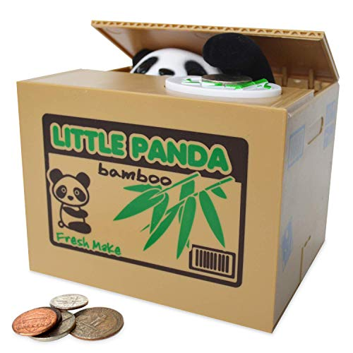 Eulan Spark Toys & Games TM - Piggy Bank - Cute Panda Bear - Steals Coins Like Magic!! - Hours of Fun & a Great Gift for Kids -