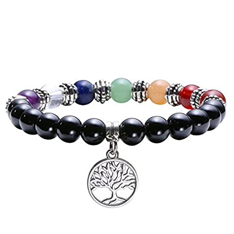 Jovivi 8mm-7 Chakra Pierres Naturelles Agate Noir Perles d'Energie Bracelet Extensible Elastique Tibetain Bouddhiste avec Pendentif Arbre de la Vie